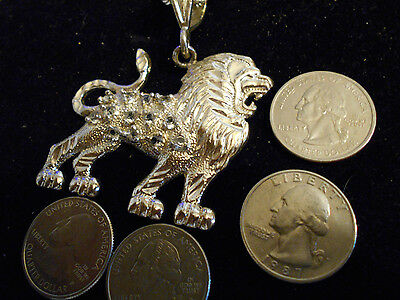 silver plated GOD ICED OUT CZ lion zodiac PENDANT charm hip hop necklace jewelry