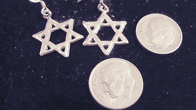 bling silver plated gothic celtic demonic 6 point star dangle ear ring jewelry