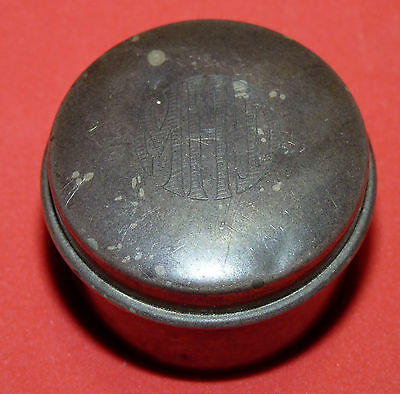 "Vtg Antique old Sterling Silver Round box Snuff Box Stamped ""STERLING"" 1110  b2"
