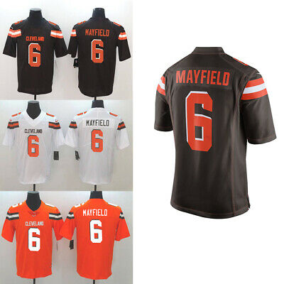 3023628748b New Men s Baker Mayfield Cleveland Browns White Brown Orange Jersey Size  M-3XL