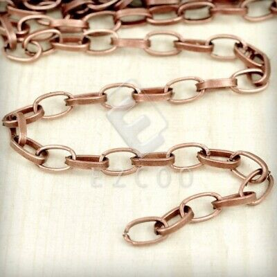 4m Unfinished Bulk Chain Necklace Makings Antique Copper Oval Cable 6.8x4.1mm PW