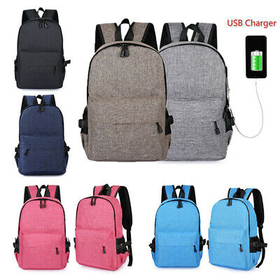 Unisex Anti-Theft Backpack Laptop USB Port Charger Travel Business Bags Rucksack