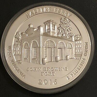 2016 5 Oz Silver Atb Harpers Ferry National Historical Park, Wv - In Capsule