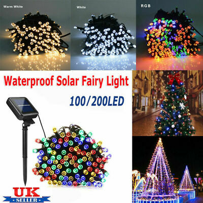 100 200 LED Solar Power Fairy Lights String Garden Outdoor Party Wedding Xmas EO