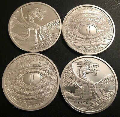 Lot Of 4 The Aztec 1 Oz Silver Round - World Of Dragons Fine First In Series!