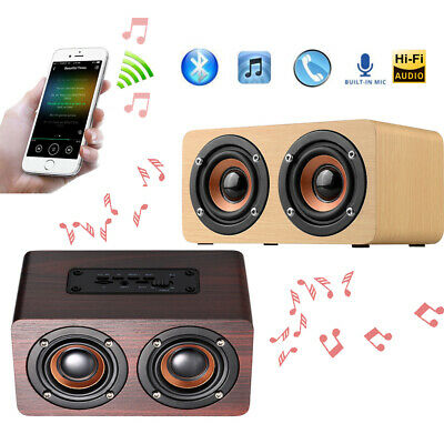 Wireless Wooden Bluetooth Stereo Bass Speaker Mini Portable Subwoofer AUX Y3A6