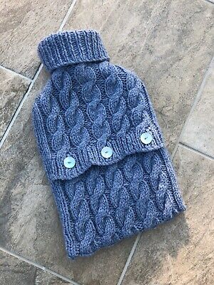 Chunky Cable Knit Blue Grey Pearl 2l 2 Litre Hot Water Cover & Rubber Bottle