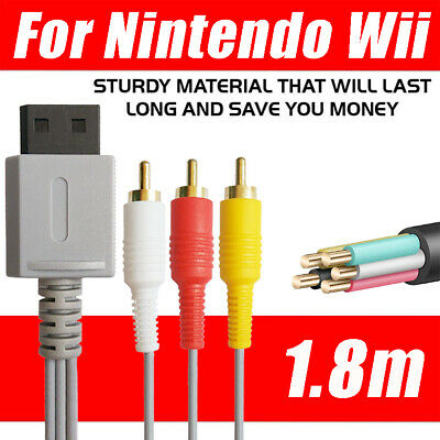 6ft Audio Video AV Composite 3RCA Cable TV Lead Wire For Nintendo Wii Game UK