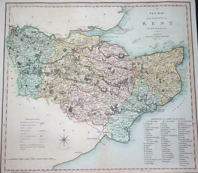 1804 - Original Antique LARGE MAP of 'KENT' by Smith 1st Edition (LM4)
