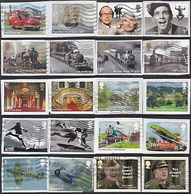 Gb  Selection Of  S/a Booklet Stamps Used On Paper