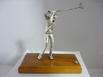 Stunning Vintage Large Sterling Silver Man Playing Golf Sculpture/Statue