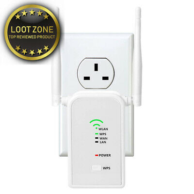 WiFi Router Range Extender Booster Mini N300 Mbps with External Antennas and...