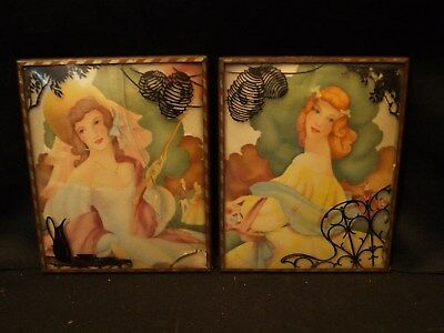 2 Antique Reverse Painted Curved Glass Art Deco Metal Framed Young Lady Prints