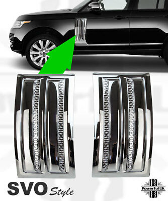 Chrome wing vent fin grilles SVO style for L405 Autobiography door trim side