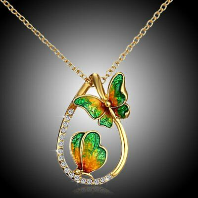 Charm Crystal Drop Butterfly Pendant Necklace Womens Costume Jewellery Gift