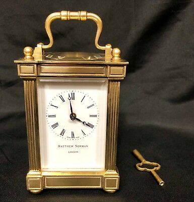 MATTHEW NORMAN LONDON SWISS MADE Brass Carriage Clock with Key : Working (82)