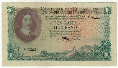 South Africa 10 Rand 1961 Issue Banknote Pick: 106a  In XF++