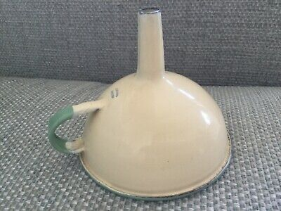 Retro Kockums Sweden kitchen funnel enamel cream and green small funnel