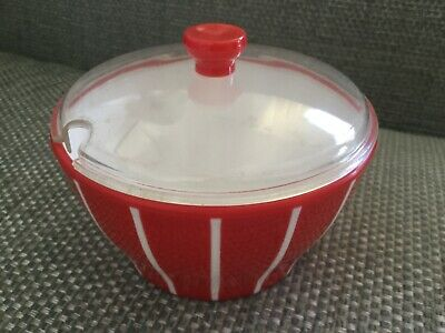 Welware retro sugar bowl with lid red & white stripes 12360/63 plastic 1960's