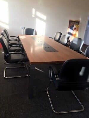 Boardroom table and chairs. 3 Metre by 1.2 , N18 location collection only