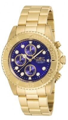 Invicta Pro Diver Chronograph Blue Dial Gold-plated Men's Watch 19157