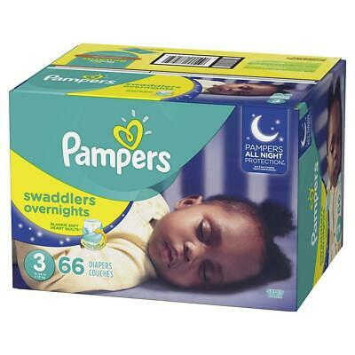 Pampers Swaddlers Overnights Disposable Baby Diapers Size 3, 66 Count, SUPER