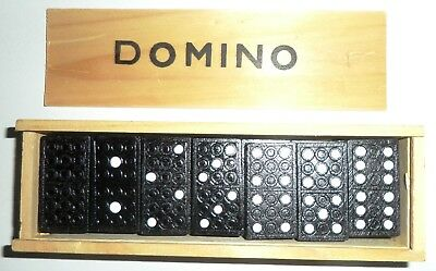 Full Set Dominoes in Wooden Box Complete With Play Instructions