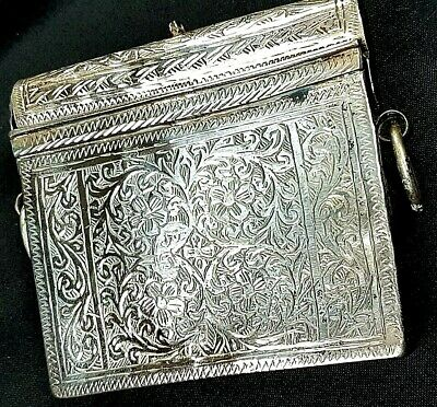 Antique Eastern Ottoman Silver Portable Quran Box, Koran Holder c 1880