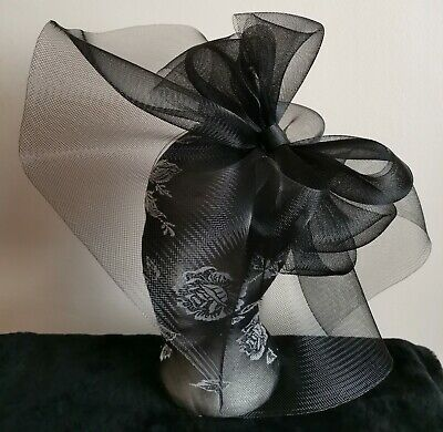 black fascinator millinery burlesque wedding hat hair piece ascot race bridal