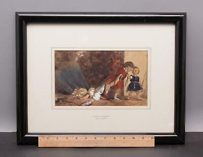 19thC Antique JAMES ARCHER Scottish English Watercolor Painting, Children & Doll