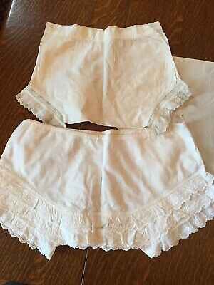 2 PAIRS VINTAGE 1930's BABY FRILLY KNICKERS- TOOTAL LONGCLOTH-BRODERIE ANGLAISE
