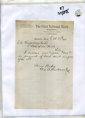 Manistee Michigan 1881 Document First National Bank