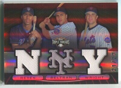 2007 David Wright Carlos Beltran Reyes Topps Triple Threads