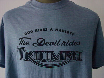 THE DEVIL RIDES TRIUMPH ★ softly T-Shirt * NEU Siebdruck * Motorcycles * heather