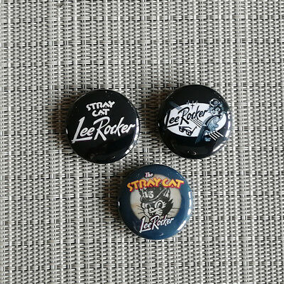 "3 Lee Rocker / Brian Setzer / Stray Cats / 1"" Button / Pin / Badge / Rockabilly"