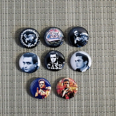 8 Johnny Cash Button / Pin / Badge / 1 Inch / 25 mm / Folk Rock Pop Rockabilly