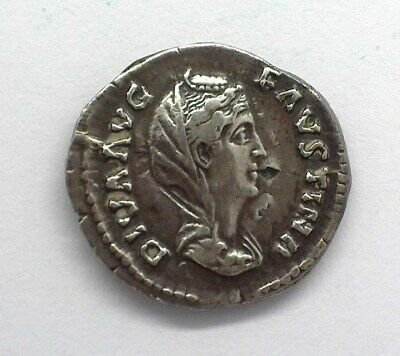 Diva Faustina Died 141 Ad. Silver Denarius Choice About Uncirculated Ric#350A