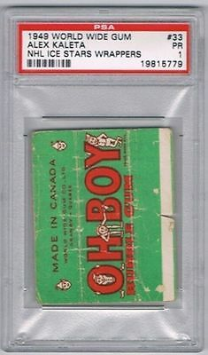 1949 WWG NHL Ice Wrappers Hockey Card New York Rangers A. Kaleta Graded PSA 1