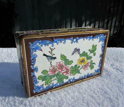 Large Vintage Chinese Canton Enamel Box - Fine Decoration