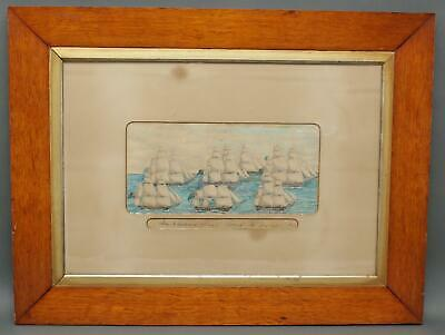 Antique 1853 Maritime Watercolor Painting Channel Fleet British Royal Navy Ships