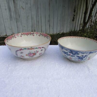 2 LARGE ANTIQUE 18thC CHINESE QIANLONG BOWLS - FAMILLE ROSE