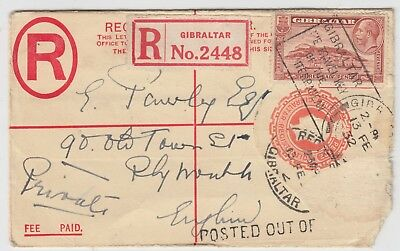 GIBRALTAR 1932 RPSE uprated to PLYMOUTH ENGLAND with POSTED OUT OF COURSE? mark
