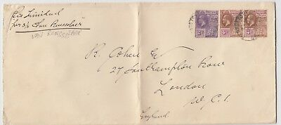 BRITISH GUIANA 1929 cover *GEORGETOWN-LONDON via TRINIDAD per SS VAN RENSSELAER