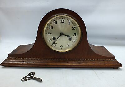 Antique Vintage WIND UP MANTLE CLOCK Large Dark Wood WITH KEY  - B69
