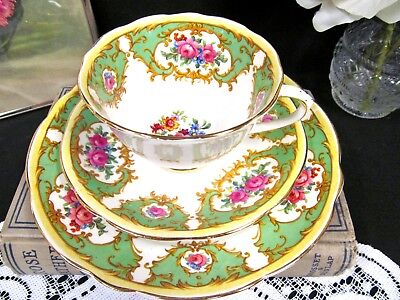Foley Tea Cup And Saucer Trio Pink Roses Floral Green Accent Teacup