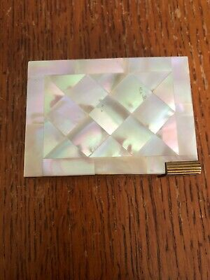 Vintage Volupte Mother Of Pearl  Compact w/lipstick Holder