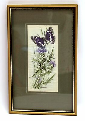 CASH 'Purple Emperor & Spear Thistle' Woven EMBROIDERED ARTWORK - S77