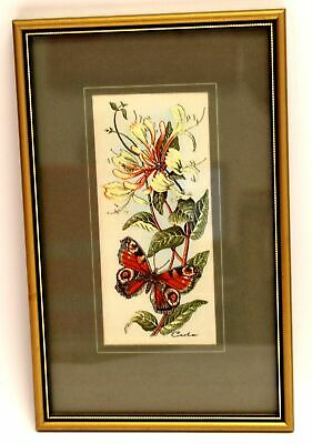 CASH 'Peacock & Honeysuckle' Woven EMBROIDERED ARTWORK / Framed - S77