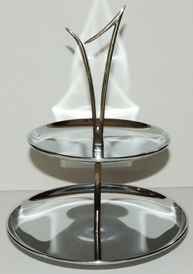 Eames Era SERVING STAND Horderves Tray Dish Gold Chrome Mid Century Modern
