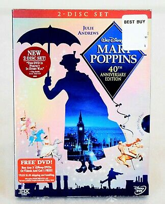 Mary Poppins DVD 40th Anniversary Two-Disc Set  Brand New  w/ Sleeve & Stamp